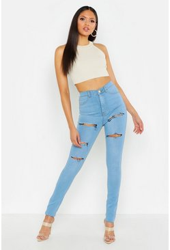 Womens Light blue Tall Light Wash Ripped Jeggings