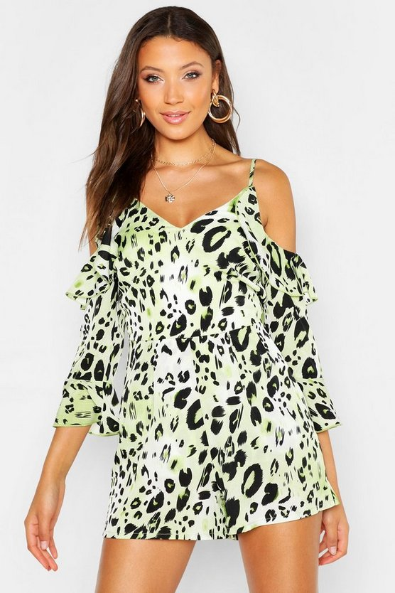 Womens Lime Tall Leopard Print Cold Shoulder Playsuit