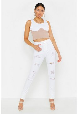Womens White Tall Distressed Jeggings