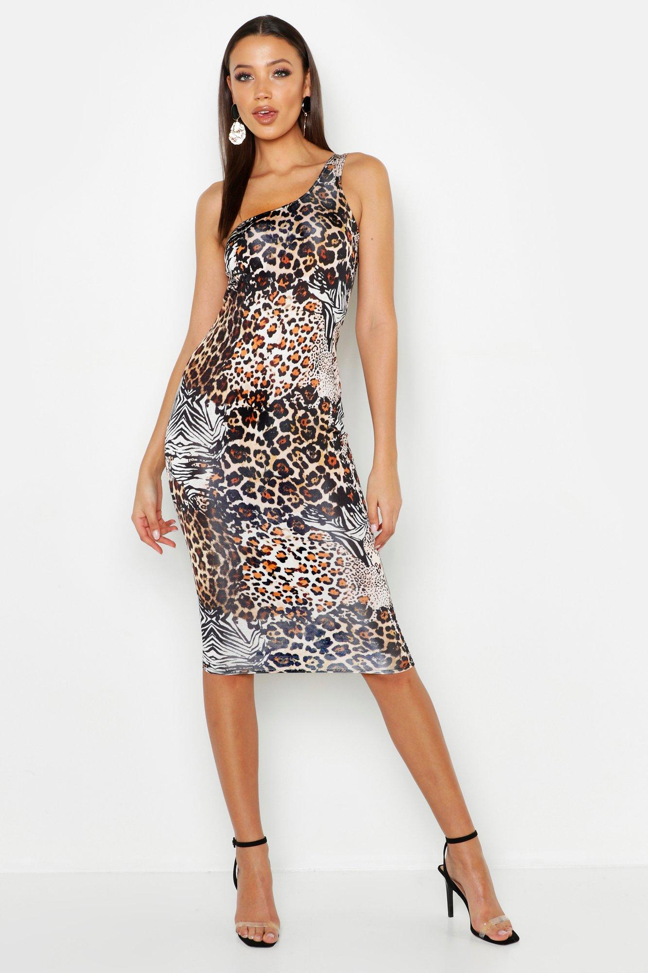 Tall Animal Sprint One Shoulder Midi Dress