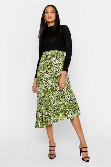 Womens Lime Tall Asymmetric Ruffle Leopard Skirt