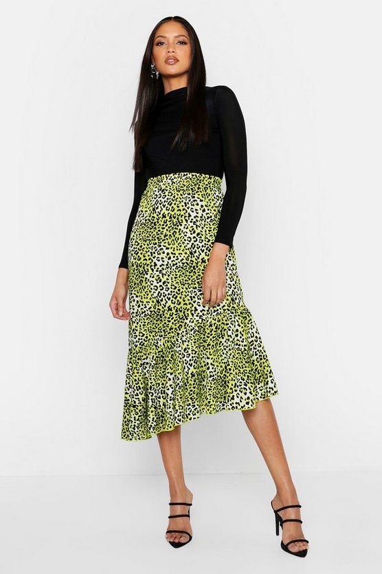 Tall Asymmetric Ruffle Leopard Skirt