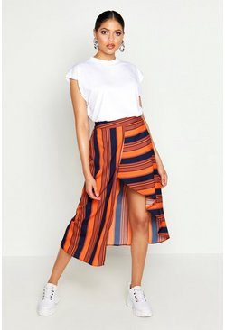 Womens Red Tall Asymmetric Stripe Midi Skirt