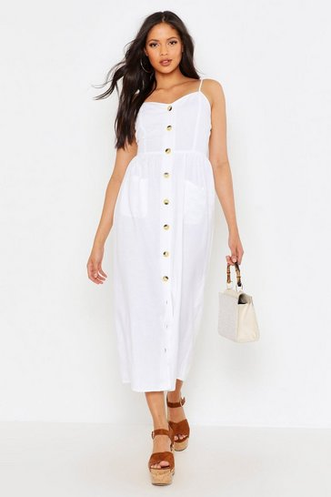 Womens White Tall Button Through Linen Midi Dress