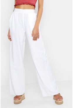 Womens White Tall Linen Trousers
