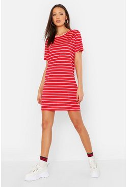 Tall abito T-shirt a righe larghe, Rosso, Femmina