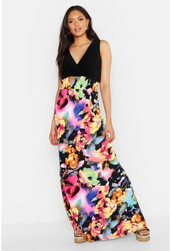 Womens Black Tall Rose Print Maxi Dress