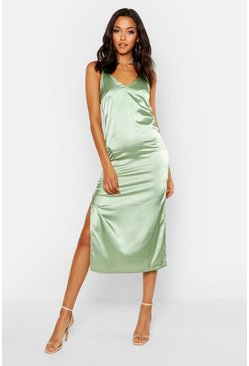Dam Sage Tall Side Split Satin Midi Slip Dress