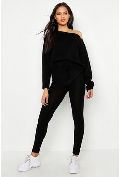 Womens Black Tall Slash Neck Knitted Lounge Set