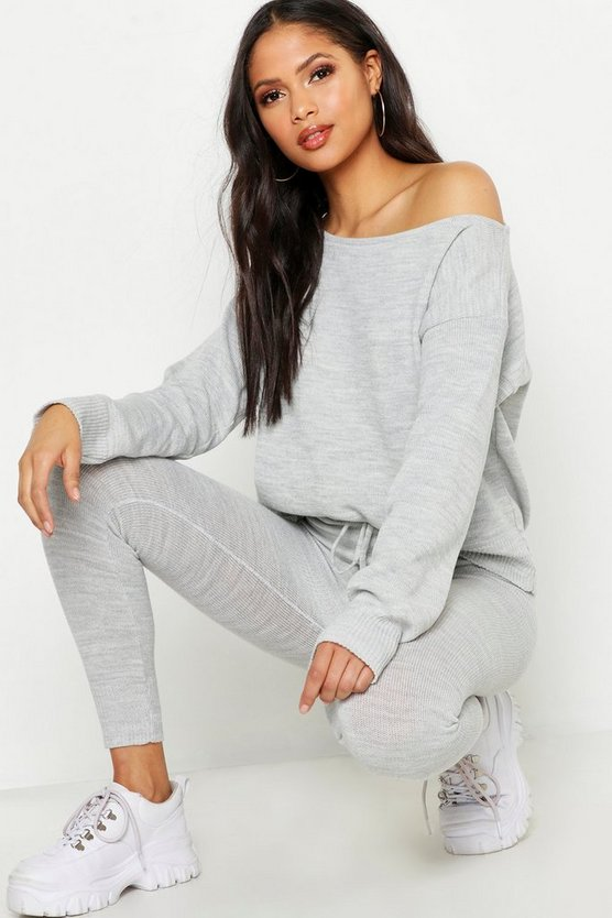 Womens Grey Tall Slash Neck Knitted Lounge Set