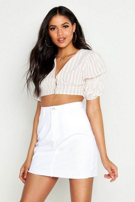 White Tall Denim Mini Skirt