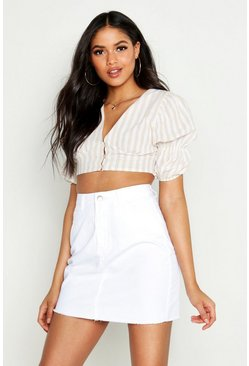 Womens White Tall Denim Mini Skirt