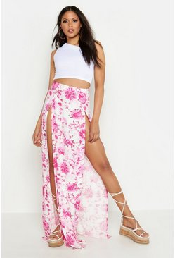 Womens Pink Tall Tie Dye Side Split Maxi Skirt