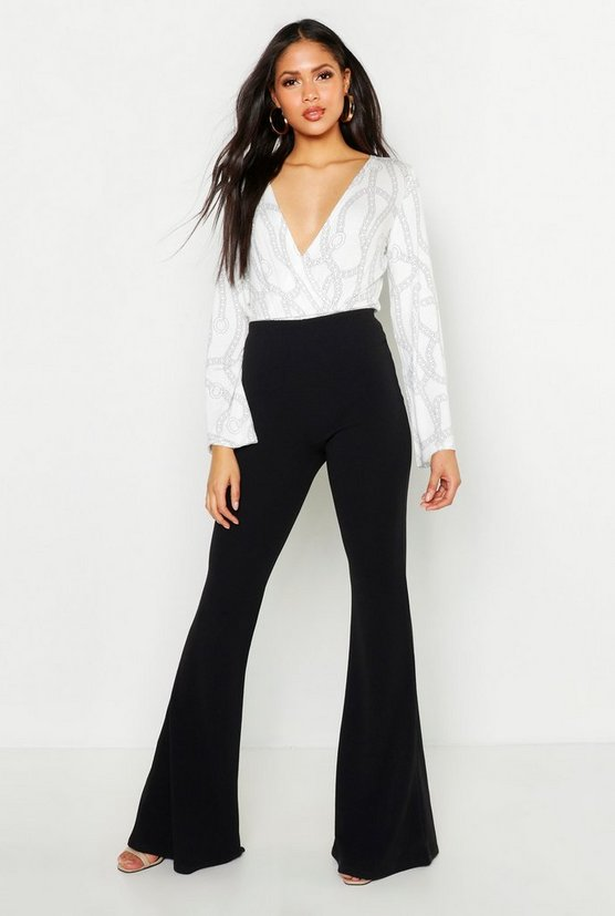 Black Tall Crepe Flares