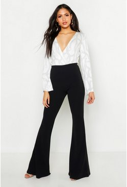 Womens Black Tall Crepe Flares