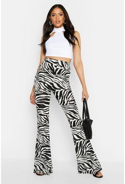 Womens White Tall Zebra Print Flares