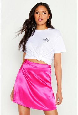 Womens Hot pink Tall Satin Mini Skirt