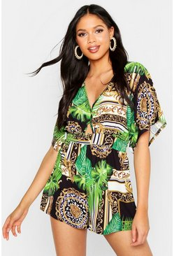 Womens Green Tall Jungle Scarf Kimono Sleeve Romper
