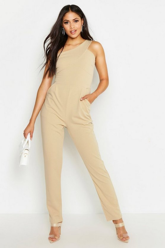 Womens Stone Tall One Shoulder Jumpsuit