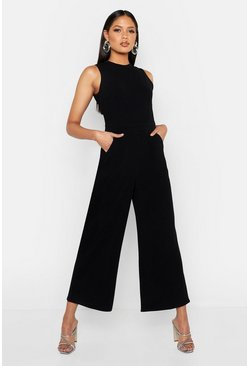 Womens Black Tall Culotte Tailored Jumpsuit