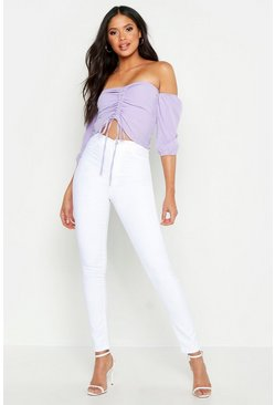 Womens White Tall Super High Waisted Stretch Skinny Jeans