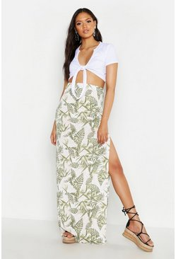 Womens Sage Tall Palm Print Side Split Maxi Skirt