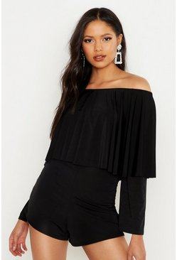 Womens Black Tall Ruffle Off The Shoulder Playsuit
