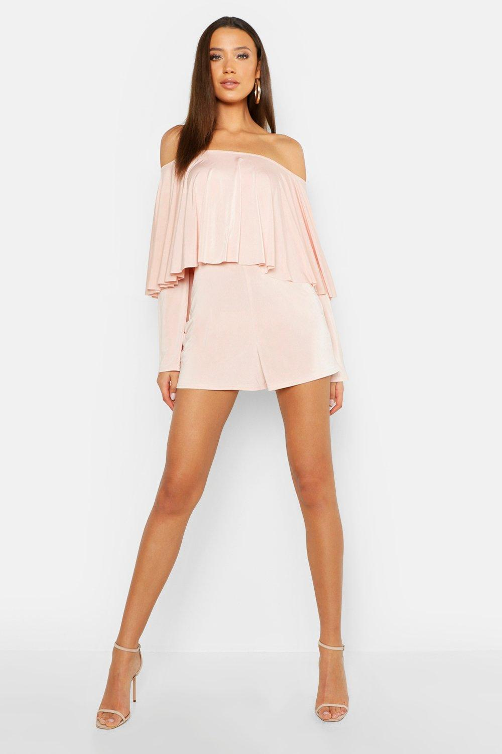 Tall Ruffle Off The Shoulder Playsuit