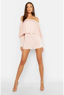 Womens Blush Tall Ruffle Off The Shoulder Playsuit