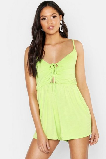 Womens Lime Tall Lace Up Strappy Playsuit