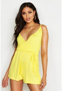 Womens Yellow Tall Belted Wrap Jersey Playsuit