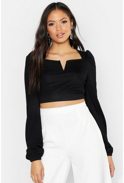 Womens Black Tall V Bar Peasant Crop Top