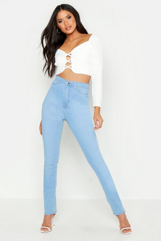 Womens Mid blue Tall High Waisted Power Stretch Skinny Jeans