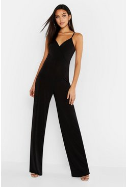 Womens Black Tall Wrap Slinky Wide Leg Jumpsuit