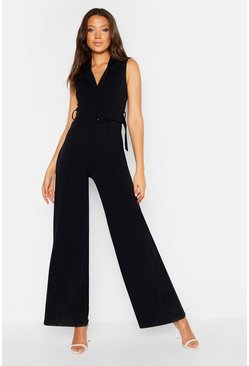 Womens Black Tall Self Fabric Belt Sleeveless Jumpsuit