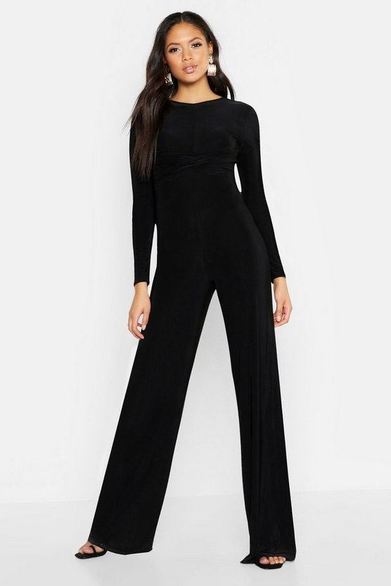 Black Tall Twist Front Wide Leg Jumpsuit