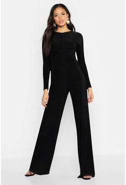 Womens Black Tall Twist Front Wide Leg Jumpsuit
