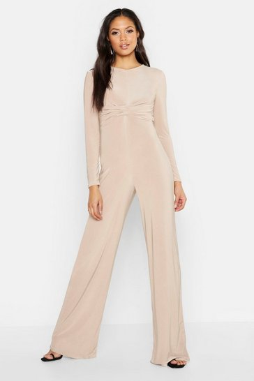 Womens Stone Tall Twist Front Wide Leg Jumpsuit