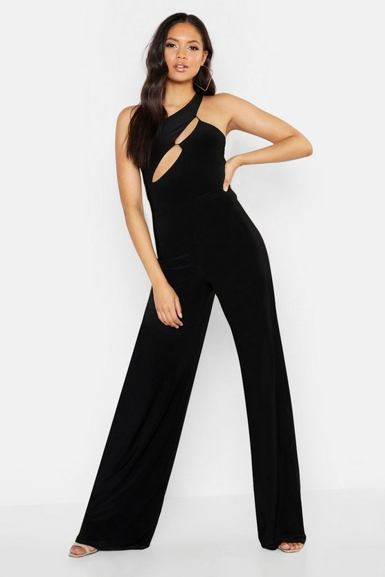 Black Tall One Shoulder Cut Out Jumpsuit