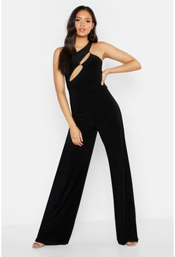 Womens Black Tall One Shoulder Cut Out Jumpsuit