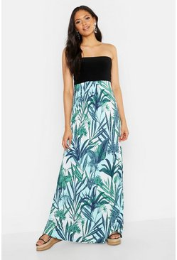 Womens Blue Tall Palm Print Bandeau Maxi Dress