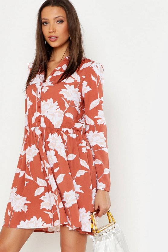 Womens Terracotta Tall Floral Print Shirt Dress