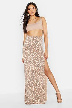 Tall Animal Print Side Split Maxi Skirt