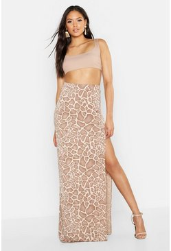 Womens Camel Tall Animal Print Side Split Maxi Skirt