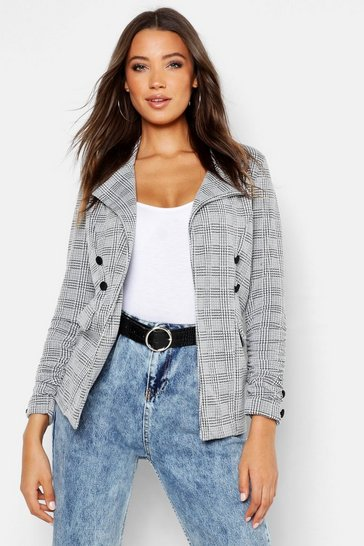 Grey Tall Check Button Detail Blazer