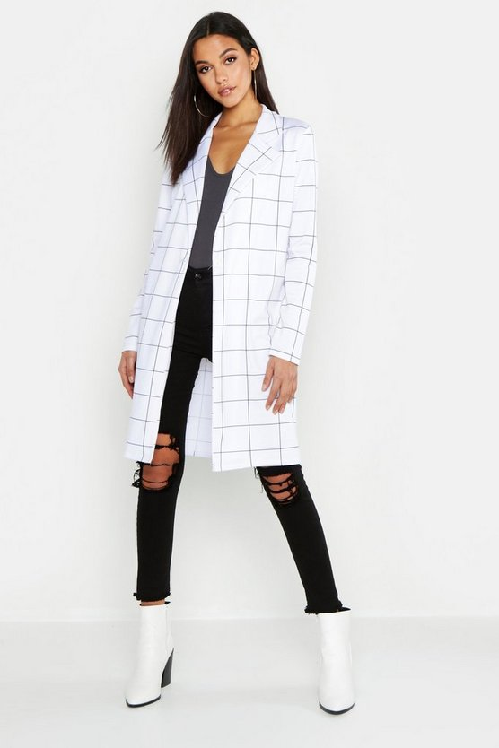 Womens White Tall Grid Check Duster