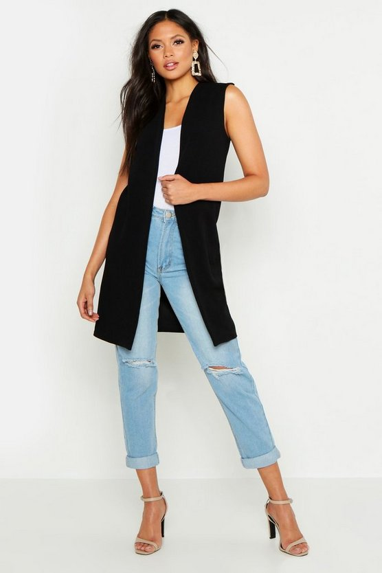 Womens Black Tall Sleeveless Duster Jacket