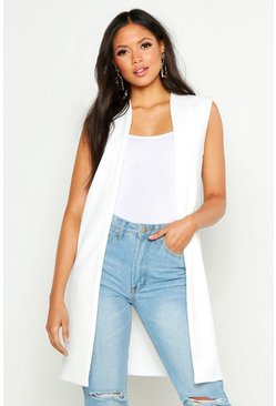 Ivory Tall Sleeveless Duster Jacket