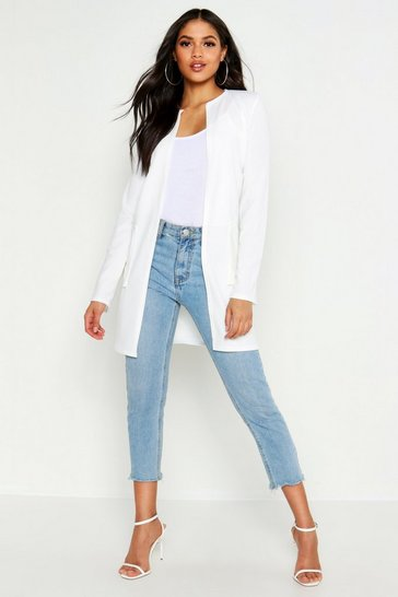 Womens Ivory Tall Collarless Duster Jacket