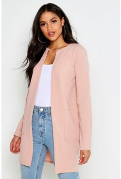Womens Stone Tall Collarless Duster Jacket
